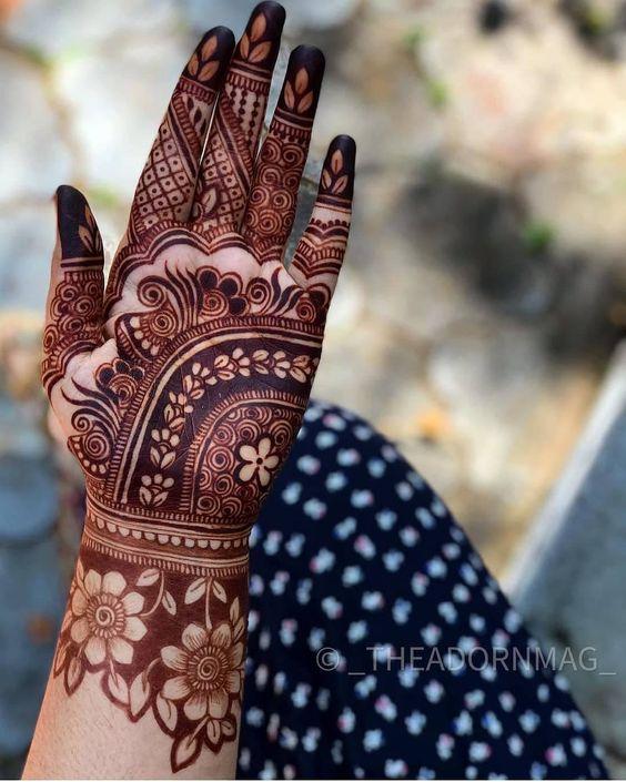 Simple Arabic Mehndi Designs for Left Hand